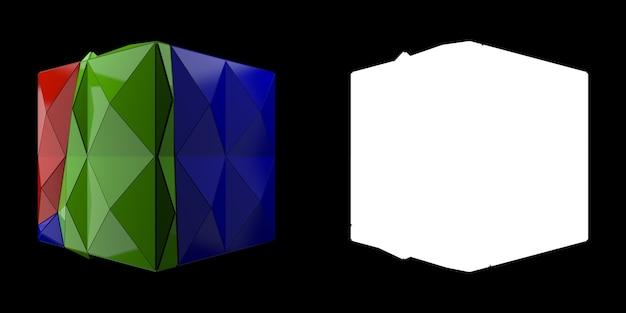 3dレンダリングの抽象的な背景。三角形および押し出し立方体のジオメトリ。ポジティブカラーのフラクチャドジオメトリ。マスク付きの画像。