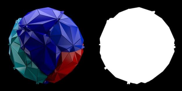 3d визуализации абстрактного фона. треугольная и экструдированная геометрия из сферы. позитивная раскрашенная геометрия трещин. изображение с маской.