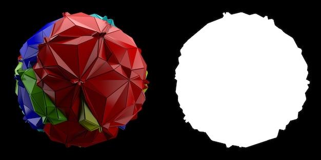 3dレンダリングの抽象的な背景。球からの三角形および押し出しジオメトリ。ポジティブカラーのフラクチャドジオメトリ。マスク付きの画像。