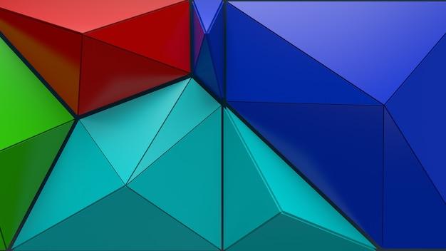 3d визуализации абстрактного фона. треугольная и экструдированная геометрия. позитивная раскрашенная геометрия трещин.