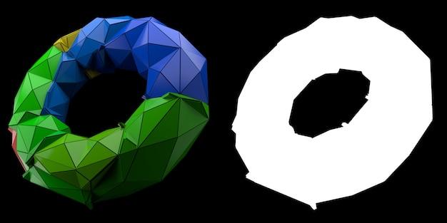 3dレンダリングの抽象的な背景。三角形および押し出しトーラスジオメトリ。ポジティブカラーのフラクチャドジオメトリ。マスク付きの画像。