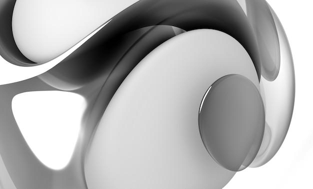 曲線の波線でシュールな3d有機ボールの一部を使用した3dレンダリングの抽象的な白黒アート