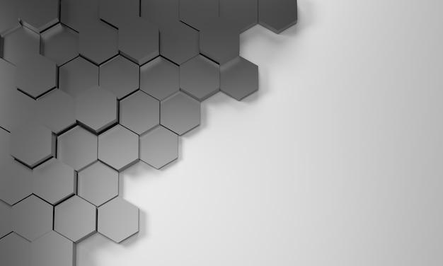 3dレンダリング。六角形と場所と抽象的な黒い背景