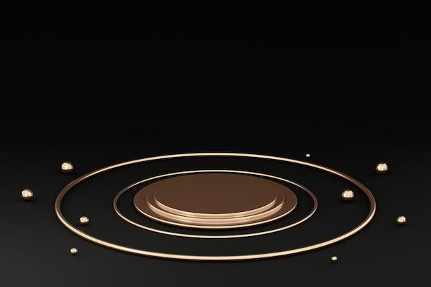 3d 렌더링, 추상 블랙 골드 최소한의 현대 배경, 기하학적 모양