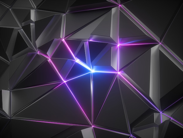 3d render of abstract black metallic faceted crystal background with pink blue glowing neon light