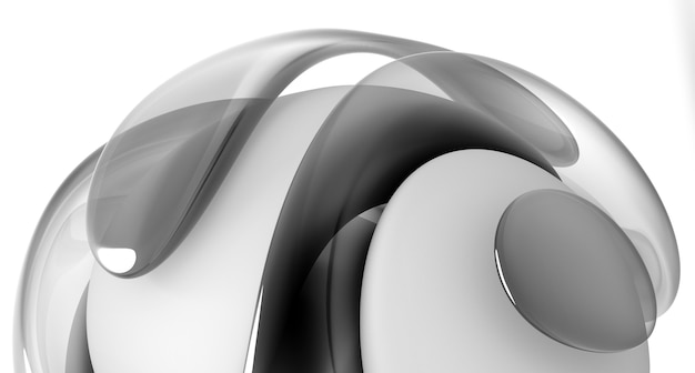 3d render abstract black and white art with part of surreal 3d organic ball in curve wavy lines