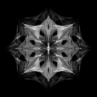 3d render of abstract black and white art with surreal 3d cyber star or alien snow flake object