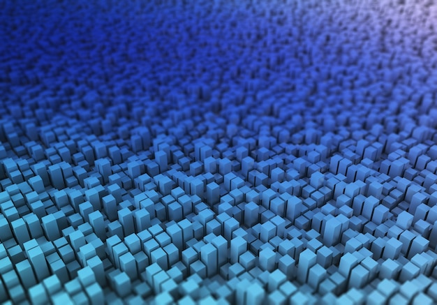 3d render of an abstract blocks landscape with shallow depth of field