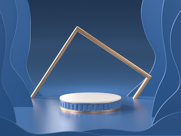 3d render of abstract blue room with podium and golden frame