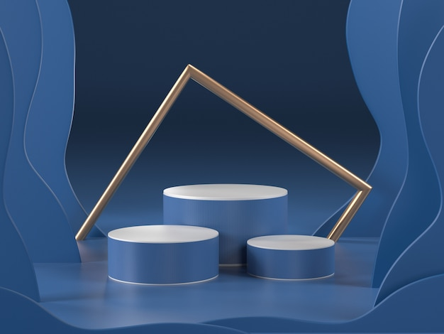 3d render of abstract blue room with podiums and golden frame