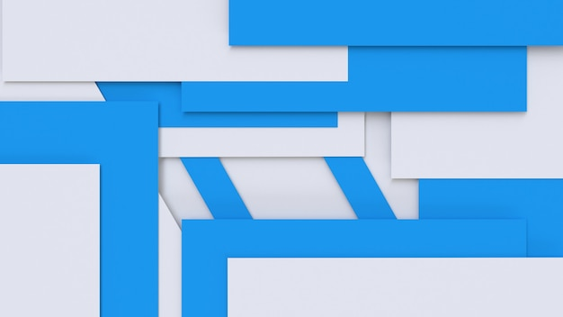 3d render abstract blue white geometric background