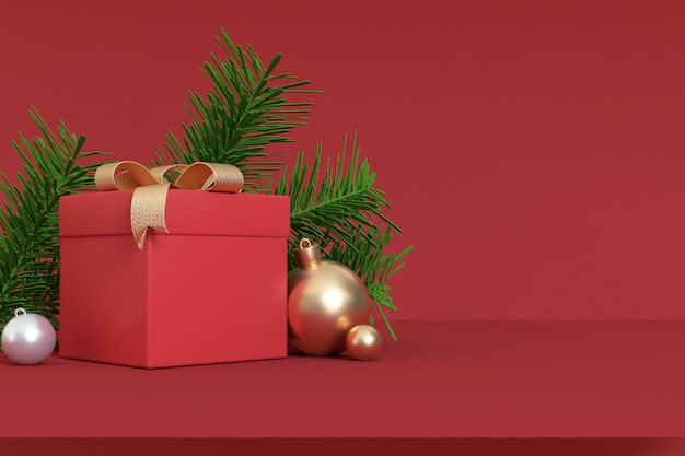 3d render abstract christmas   red scene gift box gold ball-ribbon right side free space,holiday christmas new year winter