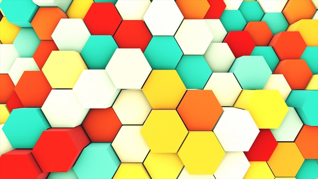 3d render abstract colorful many technical geometric hexagons