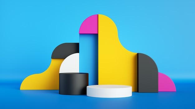 3d визуализация, абстрактные красочные примитивные геометрические формы. Premium Фотографии