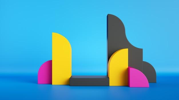 3d визуализация, абстрактные красочные примитивные геометрические формы.