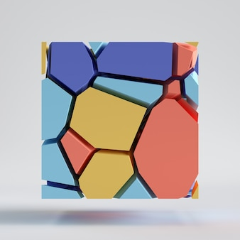 3d 렌더링, 추상 다채로운 임의의 모자이크 타일, 잘라 조각, 깨진 사각형 표면. 파란색 빨간색 노란색 요소.