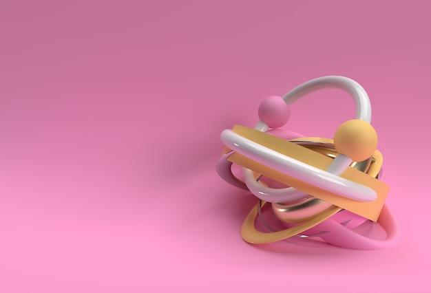 기하학적 요소 디자인으로 3d 렌더링 추상 구성 배경입니다.