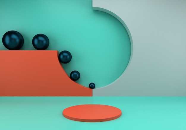 3d render, abstract composition with podium