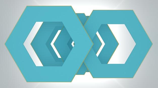 3dレンダリング抽象的なクールな青い幾何学的形状の構成