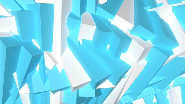 3d render abstract cool blue geometric shapes composition