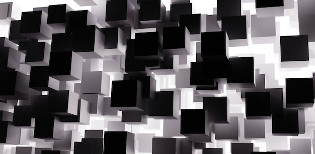 3d render abstract cubes background with black and white color