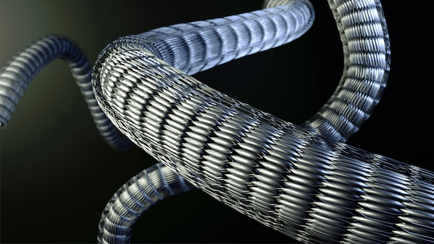 3d render of abstract digital motion wavy on black background.