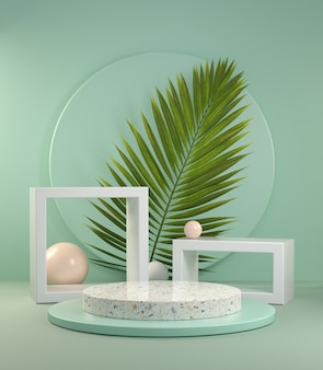 3d render abstract display with palm leaf on green mint background illustration