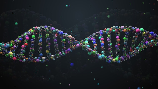 3d는 구체로 만들어진 추상 dna 가닥을 렌더링합니다. 광택 있는 단순 원형으로 구성된 복잡한 유전자 개념입니다. 과학 및 의료 테마입니다.