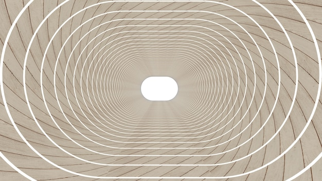 3d render of abstract ellipse shape in tunnel background