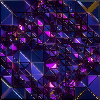 3d render, abstract faceted background, iridescent blue metallic texture, triangle tiles, geometrical crystallized wallpaper
