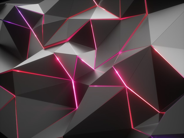 3d render of abstract faceted crystal background with red neon light