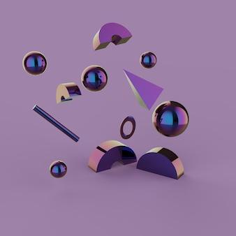 3d визуализация, абстрактные падающие геометрические примитивные фигуры минимализм
