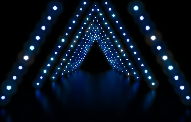 3d render. abstract fashion background with blue neon lights