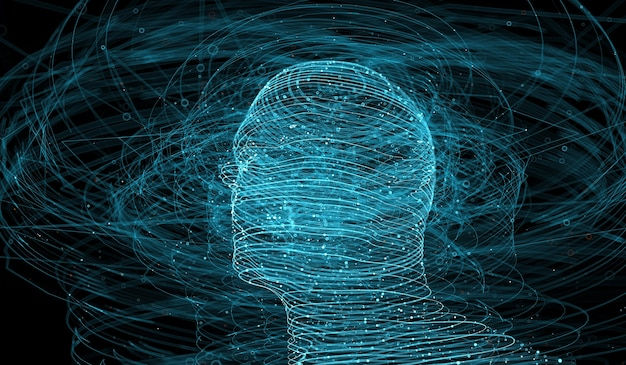 3d render of abstract figure made of lines. complex technology background. human head surrounded with a lot of elements.