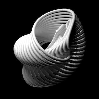 3d визуализация абстрактная фигура. белая структура из повторяющихся элементов.