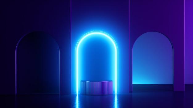 3d визуализация, абстрактные геометрические фон с ярко-синим светящимся неоновым светом.