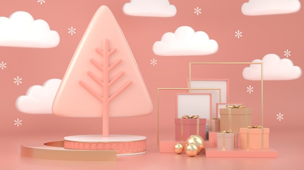 3d render of abstract geometric shape christmas tree scene concept decoration
