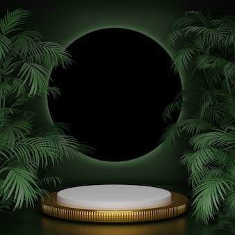 3d render abstract geometric shape green gold black product display elegance green plant