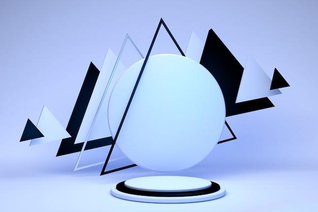 3dレンダリング抽象的な幾何学的な三角形のフレームパステル背景に分離された水色の丸い台座モダンなミニマルコンセプト空のプラットフォーム空のステージ空白の表彰台黒と白