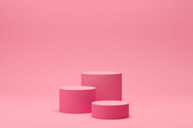3d render abstract geometry shape podium scene with pink background for display and product