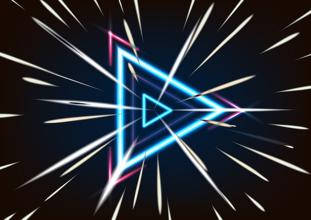 3d render abstract glowing neon triangle speed isolated on black background