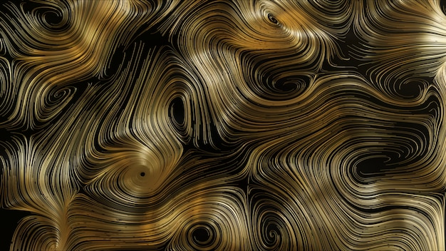 3d render abstract gold round network background