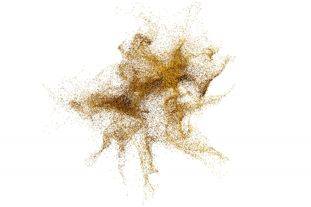 3d render of abstract golden dust particle splash on white backg