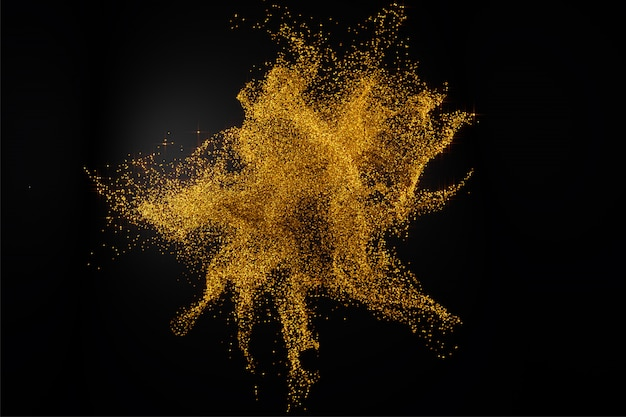 3d render of abstract golden glitter splash on black background.