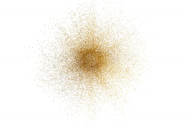 3d render of abstract golden glitter splash on white background.