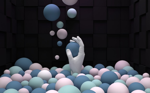 ボールで抽象的な手をレンダリングする3d