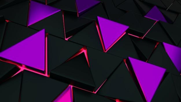 3d визуализация абстрактная иллюстрация черного и фиолетового треугольного фона