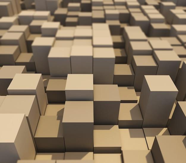 Rendering 3d di un paesaggio astratto di cubi estrusi con profondità di campo ridotta