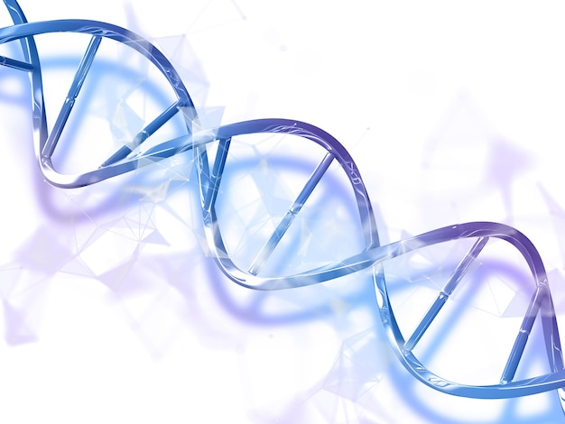 Rendering 3d di un background medico astratto con filamento di dna