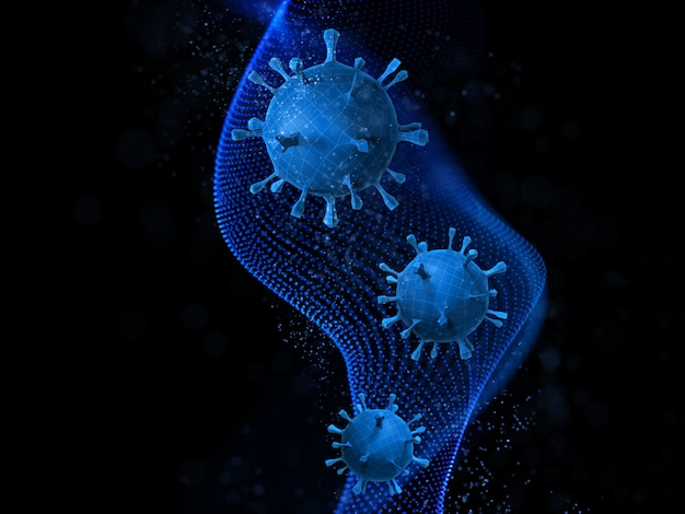Rendering 3d di un background medico astratto con cellule low poly virus sul design delle particelle
